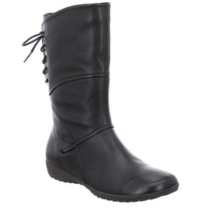 Josef Seibel Navy 07 Black Leather Mid Calf Boots - elevate your sole