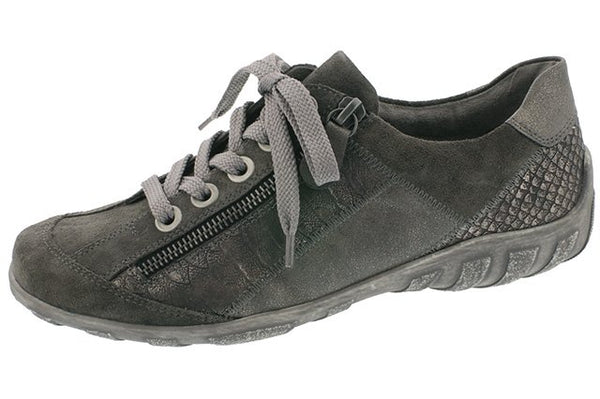 Remonte R3419-42 Grey Metallic Leather Trainer Shoes