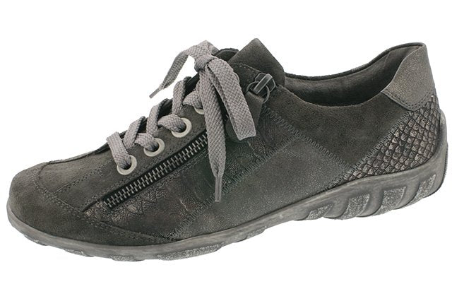Remonte R3419-42 Grey Metallic Leather Trainer Shoes - elevate your sole