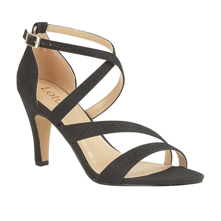Lotus Rimes Black Shimmer Textile Sandal Heels - elevate your sole