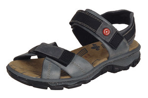 Rieker 68851-12 Ladies Grey Leather Walking Sandals - elevate your sole