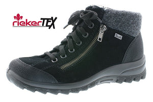 Rieker L7132-01 Suede Leather Lace Up Ankle Walking Boots