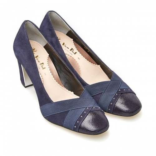 Van Dal Ash Navy Suede & Leather Wide Fitting Court Shoes