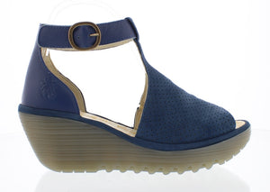 Fly Yall Cupi Moss Ladies Blue Leather Wedge Sandals