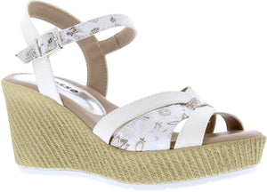 Adesso A5251 Sinead Ladies White Leather Wedge Sandal