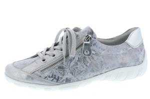 Remonte R3435-42 Ladies Blue Silver Lace Up Trainers - elevate your sole