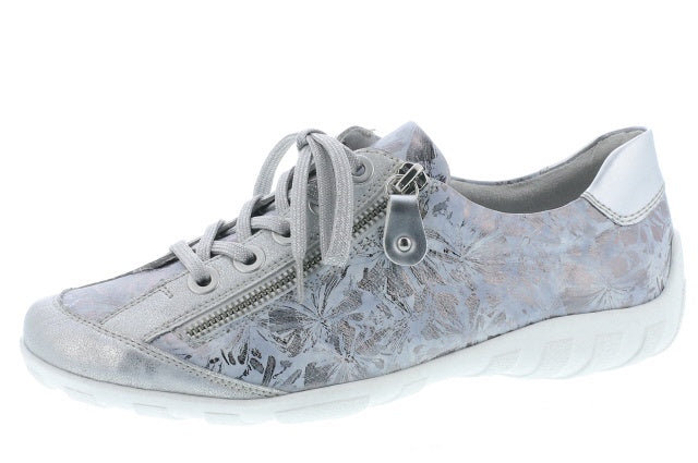 Remonte R3435-42 Ladies Blue Silver Lace Up Trainers