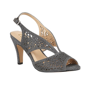 Lotus Amelia Ladies Pewter Silver Shimmer Textile Open Toe Court Shoes