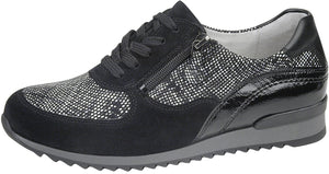 Waldlaufer 370013 Hurly Black Velour Lace Up Trainers H Fit - elevate your sole
