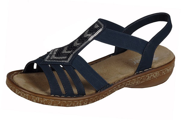 Rieker 62821-14 Ladies Navy Sequin Sandals