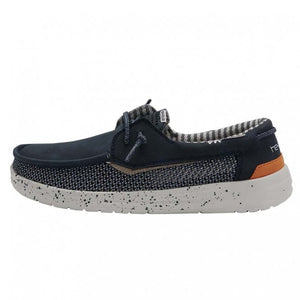 Dude Welsh Mesh Grip Mens Navy Leather Casual Boat Shoes