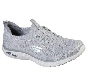 Skechers 149007 Empire D'Lux Sharp Witted Ladies White and Grey Slip On Trainers