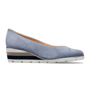 Van Dal Ariah Antique Blue Suede Wedge Shoes - elevate your sole