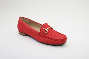 Elevate Your Sole 25836 Sunflower Ladies Red Nubuck Leather Loafers