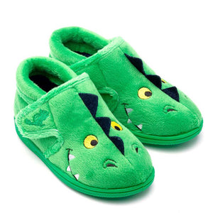 Chipmunk Scorch Childrens Green Dinosaur Slippers