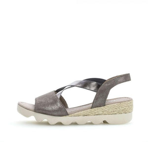 Gabor 22.753.23 Grey Silver Metallic Elasticated Sandal Wedges - elevate your sole