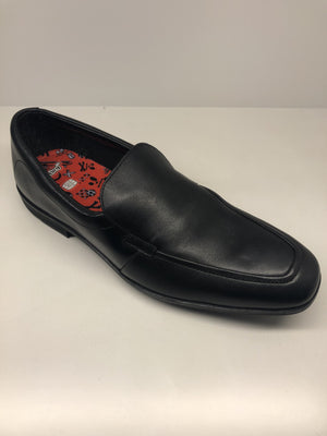 Clarks Willis Step Boys Black Leather Slip On Shoes