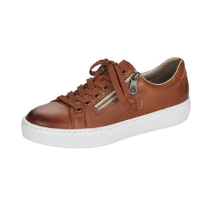 Rieker L59L1-25 Ladies Muskat Brown Leather Casual Lace Up Trainers