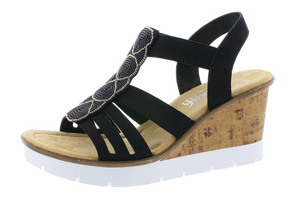 Rieker V55D8-00 Ladies Black Wedge Heeled Sandals