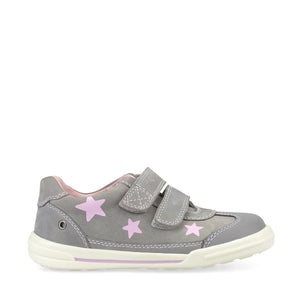 Start-Rite Galaxy 1735-5 Girls Grey Nubuck Pink Stars Pre School Shoe