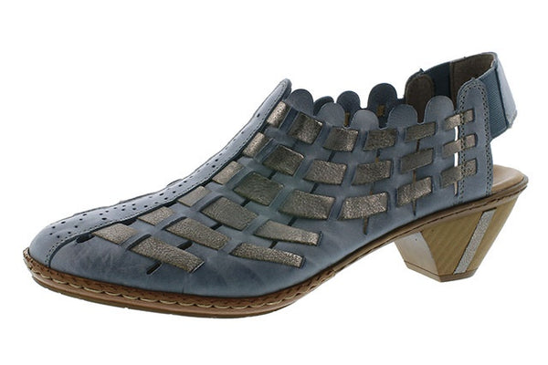 Rieker 46778-13 Blue Combination Slip on Leather Sandals