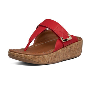 Fitflop BL7-002 Remi Ladies Red Leather Adjustable Toe Post Mules