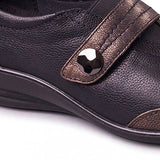 Padders Sarah Black & Bronze Leather Wide fitting Shoes - elevate your sole