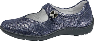 Waldlaufer 496309 117 194 Henni Ladies Tago Notte Navy Silver Hook and Lopp Strap Mary Jane Shoes