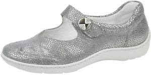 Waldlaufer 496309 Henni Ladies Cement Silver Hook and Loop Strap Mary Jane Shoes