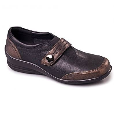 Padders Sarah Black & Bronze Leather Wide fitting Shoes