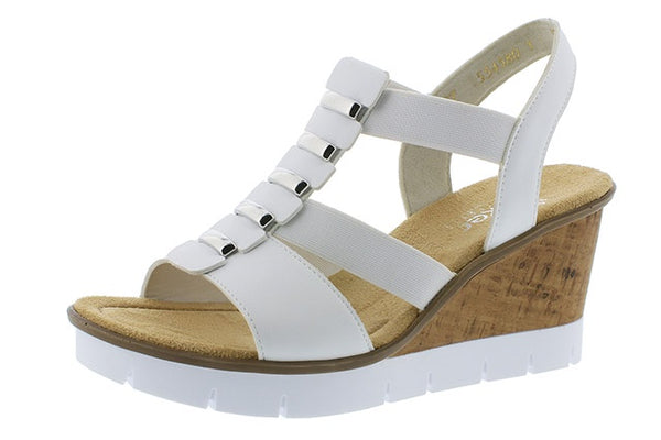 Rieker V5545-80 Ladies White Wedge Heeled Sandals