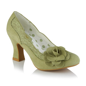 Ruby Shoo Chrissie Ladies Pistachio Green Floral Court Shoes