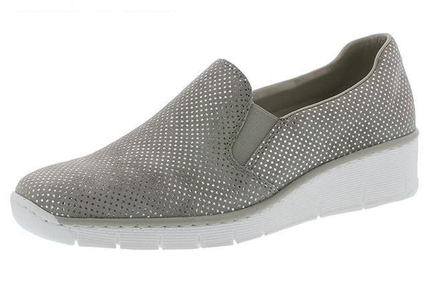 Rieker 53766-41 Ladies Silver Leather Slip on Loafers