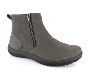 Strive Bamford Charcoal Grey Leather Nubuck Zip Up Ankle Boots - elevate your sole