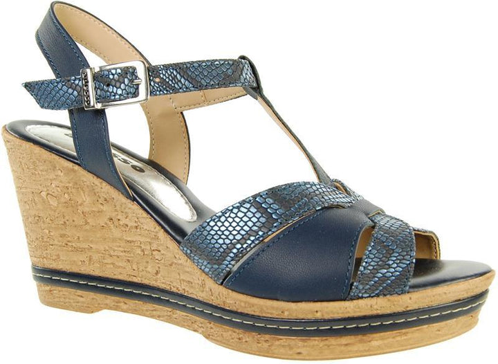 Adesso Tamsin A4249 Navy Leather T bar Wedge - elevate your sole