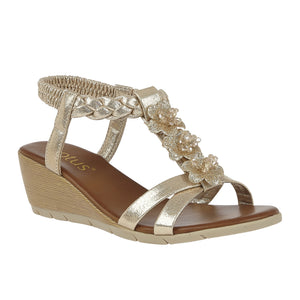 Lotus Aiana Ladies Gold T Bar Wedge Sandals