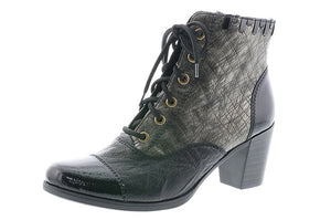 Rieker Y8938-00 Leather Grey Combi Heeled Lace Zip Up Ankle Boots - elevate your sole