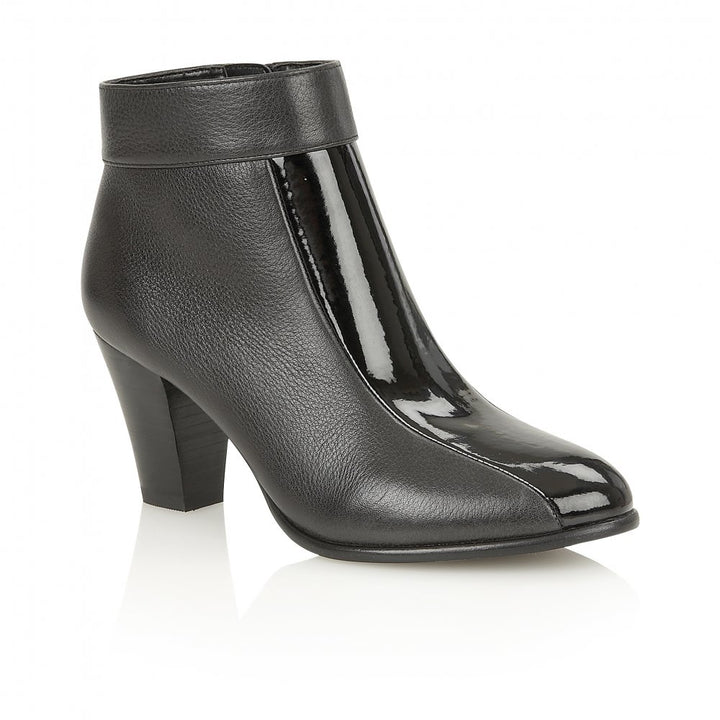 Lotus Cedar Black Leather Patent Shoe Boots - elevate your sole