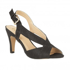 Lotus Endive Black Shimmer Textile Heels - elevate your sole