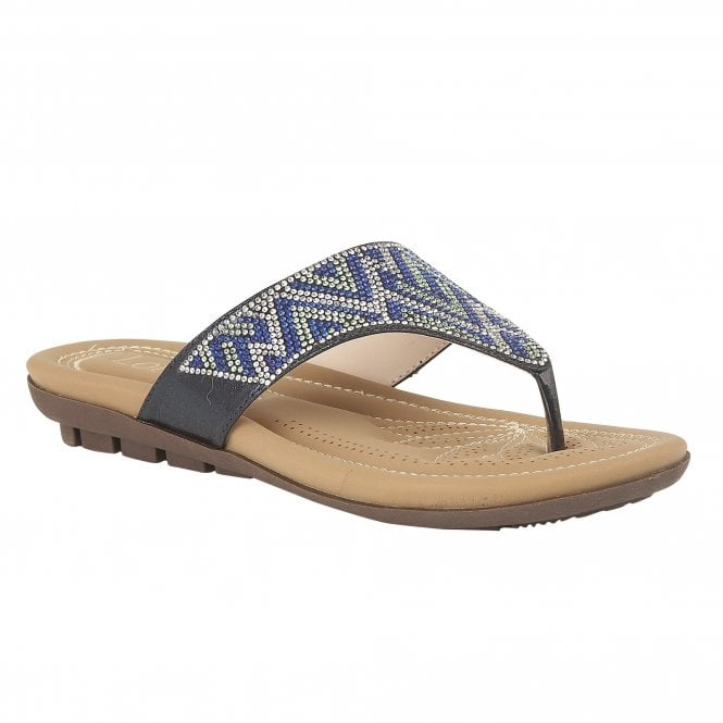 Lotus Patti Blue/Diamante Thong Sandals - elevate your sole