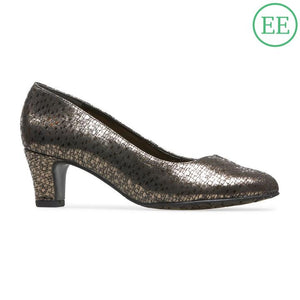Van Dal Plaza Bronze Chequer Prt Leather Court Shoes EE