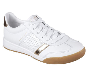 Skechers 960 Zinger Flicker White/Gold Lace Up Leather Trainers - elevate your sole