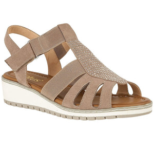 Lotus Rene Ladies Taupe Elasticated Strap Ladies Sandal