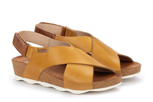 Pikolinos W9E-0912 Mahon Honey Yellow Leather Wedge Sandals