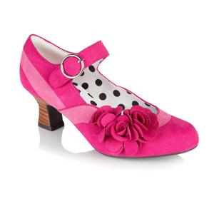 Ruby Shoo Mabel Ladies Pink Faux Suede Low Heel Court Shoes