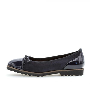 Gabor 34.100.36 Navy Suede Leather Slip On Ballerina Shoes - elevate your sole