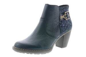 Rieker 55292-14 Navy Leather Heeled Ankle Boots