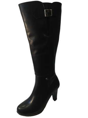 Size 7 Only - Yaku's 847 Ladies Black Leather Knee High Boots