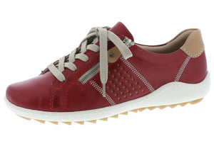 Remonte R1417-33 Ladies Red Lace Up Trainers - elevate your sole