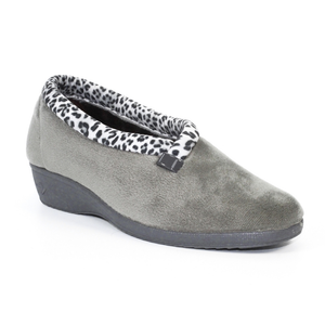 Lunar Paloma KLA005 Grey Leopard Wedge Slippers